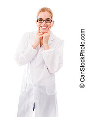 Female scientist showing smiley face - Young adult caucasian...