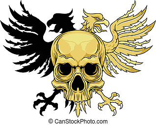 heraldic skull - vector brown skull with double headed eagle...