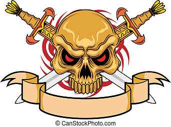 warrior skull - brown red eyes skull with cross swords and...
