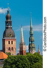 Riga - Towers of Riga seen in Riga. Three church towers in...