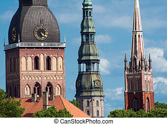 Riga - Three church towers in the picture are the Riga Dome...