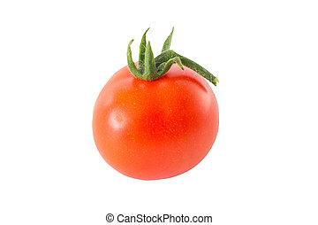 Entire tomato isolated on white background