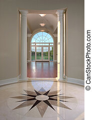Stone medallion floor - Beautiful stone medallion floor in...