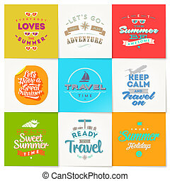 Vector set of travel and vacation type emblems and symbols