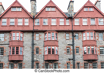 Front view of vintage facades in Edinburgh - Wide angle view...
