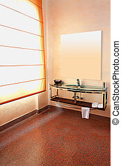 Lavatory - Interior shot of contemporary toilet with mirror