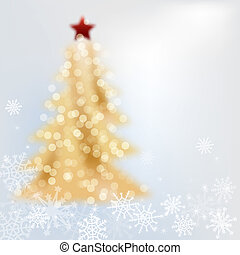 Golden christmas tree on grey background with snowflakes,...
