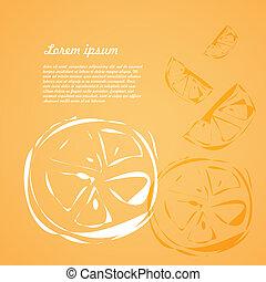 background of fruits orange slices. doodle, sketch, vector