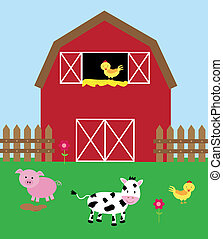 Cute Barnyard - Cute barnyard with animals