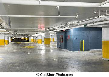New underground parking garage - Interior view of an...