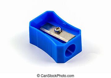 Sharpener. - Blue pencil Sharpener on white background.