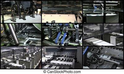 vídeo, pared, impresión, industria, proceso