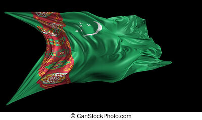 Flag of Turkmenistan - Beautiful 3d animation of...