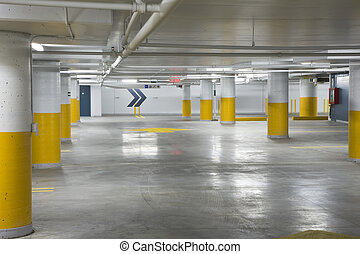 Underground parking garage - Interior view of a new...