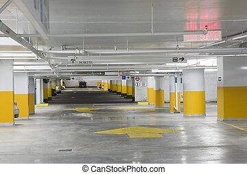 Parking garage - Interior view of an underground parking...