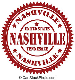 Nashville-stamp - Rubber stamp with text Nashville,vector...