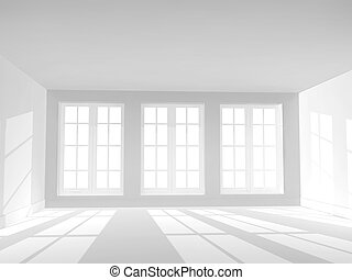 Empty room with three windows