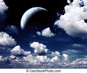 Night sky and planet - Fantastic night sky and planet