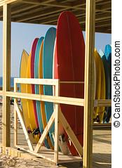 tablas de surf, alquiler, Tienda, playa
