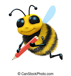 3d Bee sketches - 3d render of a honey bee drawing with a...