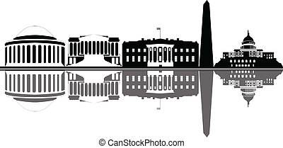 washington dc city skyline black and white with flag