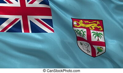 Flag of Fiji seamless loop - Flag of Fiji gently waving in...
