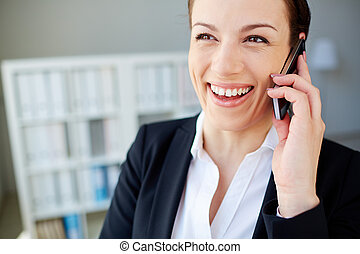Telephone consultation - Young and pretty employee speaking...
