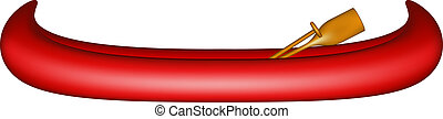 Canoe with paddle - Canoe in red design with paddle on white...