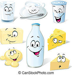 dairy product cartoon - milk, cheeses, butter and yogurt