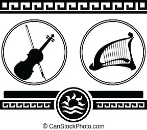 violin and ancient harp