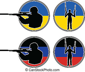 Ukrainian and pro-Russian soldiers. vector illustration