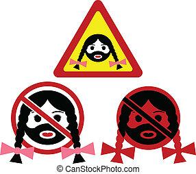 Zeichen & Schilder, bärtig, Warnung, frau