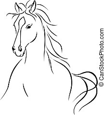horse illustration - black outline drawing