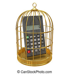 3d Calculator inside golden cage - 3d render of a calculater...