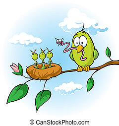 spring illustration of bird feeding hungry chicks - spring...
