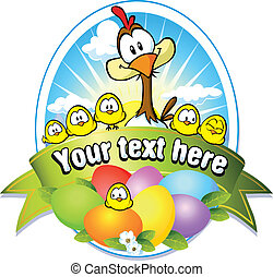easter label with colorful eggs, chicken and hen cartoon
