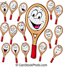 Tennis racket cartoon with many facial expressionsisolated...