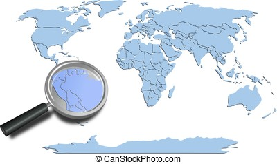 World map blue continents with South America magnified