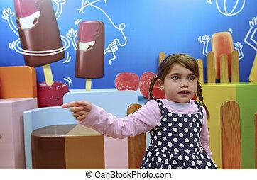 Little girl wants ice cream - Little girl wants to eat ice...