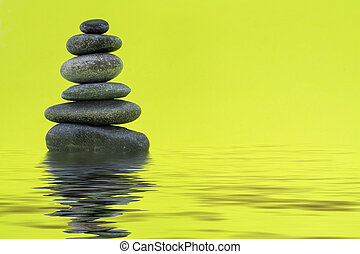 Pebbles - Stones in a stack with water effect