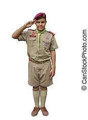Boyscout - Thai boyscout isolated on white background