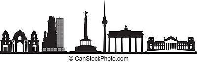 berlin skyline with reichstag and brandenburger tor - berlin...