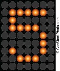 Orange digital led number 5 alphabet
