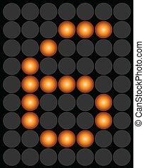 Orange digital led number 6 alphabet