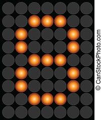 Orange digital led number 8 alphabet