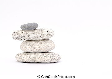 Pebbles - marble coloured stones on a white background