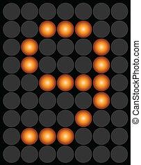 Orange digital led number 9 alphabet