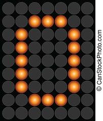 Orange digital led number 0 alphabet