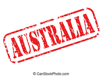 AUSTRALIA red stamp text on white background