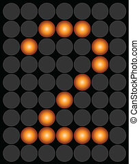 Orange digital led number 2 alphabet